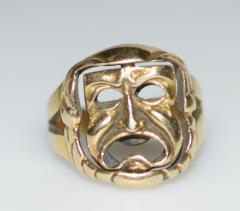 Comedy and Tragedy Spinning Articulated 14K Gold Ring - 1124183
