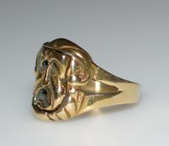 Comedy and Tragedy Spinning Articulated 14K Gold Ring - 1124185