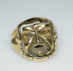 Comedy and Tragedy Spinning Articulated 14K Gold Ring - 1124186