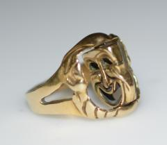 Comedy and Tragedy Spinning Articulated 14K Gold Ring - 1124188