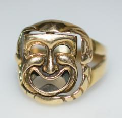 Comedy and Tragedy Spinning Articulated 14K Gold Ring - 1124190