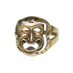 Comedy and Tragedy Spinning Articulated 14K Gold Ring - 1152390