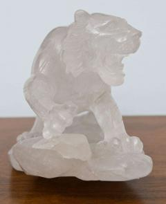 Companion Pair of Rock Crystal Tiger Sculptures France - 350385