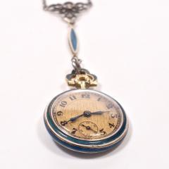 Concord Watch Co Diamond Enamel Pendant Watch 1915 - 1173011