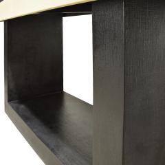 Console Table In Lacquered Linen with Black Granite Top 1970s - 1740490