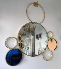 Contemporary 7 Brass Circle Mirror Italy - 977422