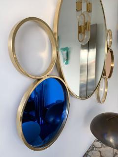 Contemporary 7 Brass Circle Mirror Italy - 977426