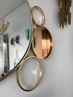 Contemporary 7 Brass Circle Mirror Italy - 977428