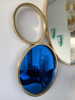 Contemporary 7 Brass Circle Mirror Italy - 977429