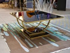 Contemporary Art Deco Italian Black Glass and Brass Coffee Table on Curved Legs - 1130209