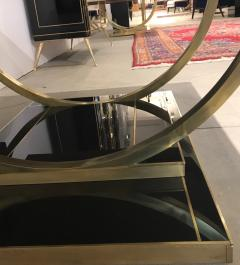Contemporary Art Deco Italian Black Glass and Brass Coffee Table on Curved Legs - 1130211