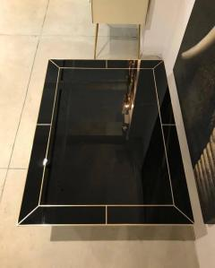Contemporary Art Deco Italian Black Glass and Brass Coffee Table on Curved Legs - 1130214
