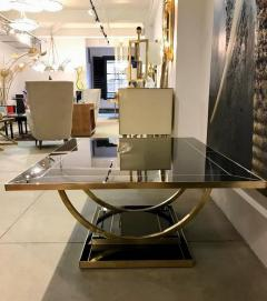 Contemporary Art Deco Italian Black Glass and Brass Coffee Table on Curved Legs - 1130215