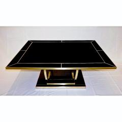 Contemporary Art Deco Italian Black Glass and Brass Coffee Table on Curved Legs - 2050831