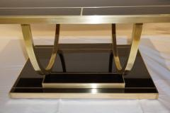 Contemporary Art Deco Italian Black Glass and Brass Coffee Table on Curved Legs - 2050834