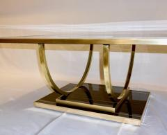 Contemporary Art Deco Italian Black Glass and Brass Coffee Table on Curved Legs - 2050835