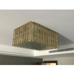 Contemporary Art Deco Italian Gold Amber Crystal Murano Glass Flush Chandelier - 1464425