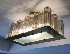 Contemporary Art Deco Style Italian Crystal Smoked Murano Glass Flush Chandelier - 1112000