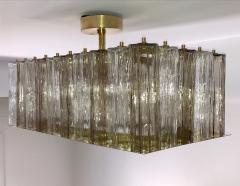 Contemporary Art Deco Style Italian Crystal Smoked Murano Glass Flush Chandelier - 1112004