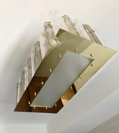 Contemporary Art Deco Style Italian Crystal Smoked Murano Glass Flush Chandelier - 1112006