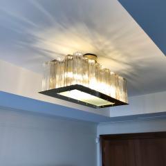 Contemporary Art Deco Style Italian Crystal Smoked Murano Glass Flush Chandelier - 1112008