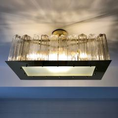 Contemporary Art Deco Style Italian Crystal Smoked Murano Glass Flush Chandelier - 1112009