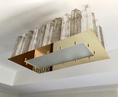Contemporary Art Deco Style Italian Crystal Smoked Murano Glass Flush Chandelier - 1112010