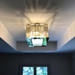 Contemporary Art Deco Style Italian Crystal Smoked Murano Glass Flush Chandelier - 1112011
