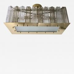 Contemporary Art Deco Style Italian Crystal Smoked Murano Glass Flush Chandelier - 1112551