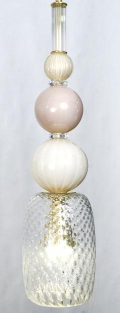 Contemporary Bespoke Italian Crystal Pink Gold Cream Murano Glass Pendant Light - 1474259