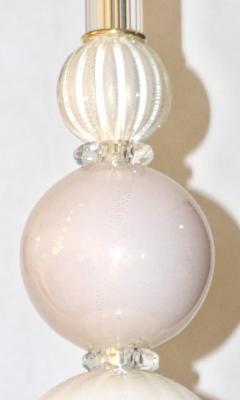 Contemporary Bespoke Italian Crystal Pink Gold Cream Murano Glass Pendant Light - 1474262