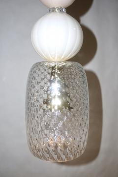 Contemporary Bespoke Italian Crystal Pink Gold Cream Murano Glass Pendant Light - 1474265