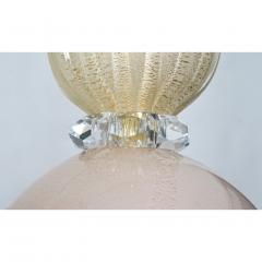 Contemporary Bespoke Italian Crystal Pink Gold Cream Murano Glass Pendant Light - 1498239