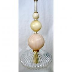 Contemporary Bespoke Italian Crystal Pink Gold Cream Murano Glass Pendant Light - 1498241