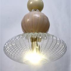Contemporary Bespoke Italian Crystal Pink Gold Cream Murano Glass Pendant Light - 1498246