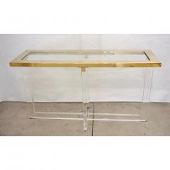 Contemporary Bespoke Modern Geometric Design Clear Lucite and Gold Steel Console - 1498282