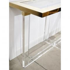 Contemporary Bespoke Modern Geometric Design Clear Lucite and Gold Steel Console - 1498283