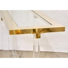 Contemporary Bespoke Modern Geometric Design Clear Lucite and Gold Steel Console - 1498284