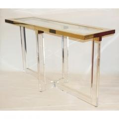 Contemporary Bespoke Modern Geometric Design Clear Lucite and Gold Steel Console - 1498286
