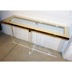 Contemporary Bespoke Modern Geometric Design Clear Lucite and Gold Steel Console - 1498287
