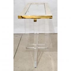 Contemporary Bespoke Modern Geometric Design Clear Lucite and Gold Steel Console - 1498288