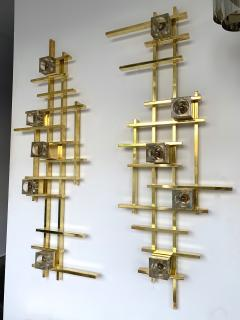 Contemporary Brass Murano Glass Cubic Sconces Italy - 1175622