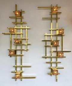 Contemporary Brass Murano Glass Cubic Sconces Italy - 1175626
