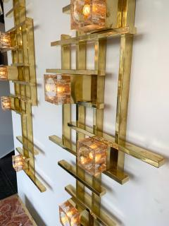 Contemporary Brass Murano Glass Cubic Sconces Italy - 1175628