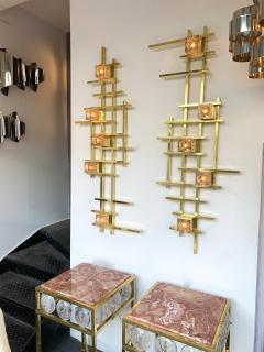 Contemporary Brass Murano Glass Cubic Sconces Italy - 1175629