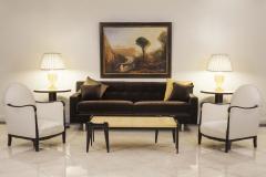 Contemporary Brown Velvet Sofa - 1378933