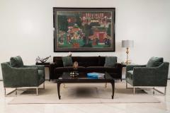Contemporary Brown Velvet Sofa - 1378935