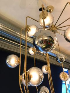Contemporary Chandelier Brass Cage Italy - 523660