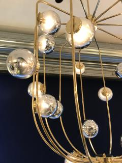 Contemporary Chandelier Brass Cage Italy - 523662