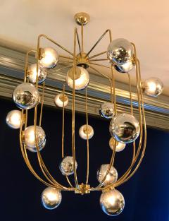 Contemporary Chandelier Brass Cage Italy - 523667